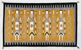 Navajo Yei Wool Rug 68''x41''. Polychrome Rug With Four