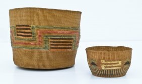 2pc Old Tlingit Or Haida Spruce Root Indian Baskets. In