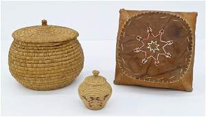 3pc Old Alaskan Indian Baskets. Includes a coiled knob