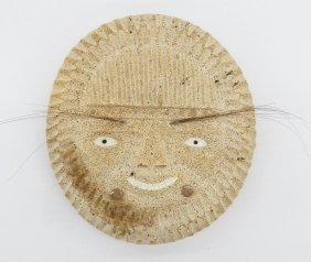 """Old Alaskan Inuit Whale Bone Mask 7.25""""x6.75"""". Inlaid I"""