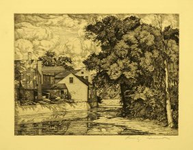 Luigi Lucioni Signed Original Aaa Etching [the Mill].
