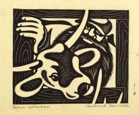 Richard Correll Signed Woodcut [barn Window]. Dated