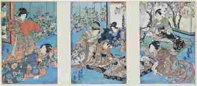 3pc Antique Japanese Triptych Woodblock Prints Oban