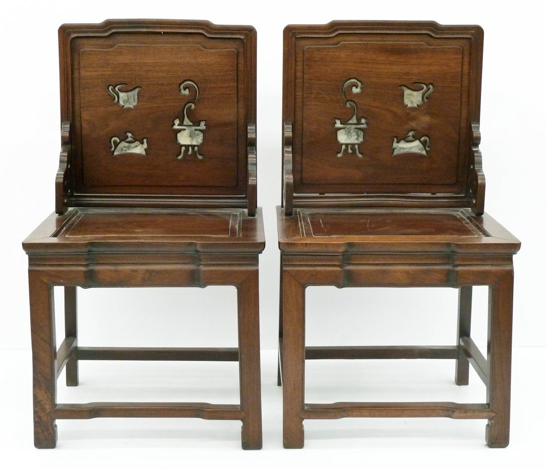 A Pair of Chinese Rosewood Tea Chairs 37''x21''x17''