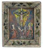 Antique Continental Crucifixion Relief Hanging Panel