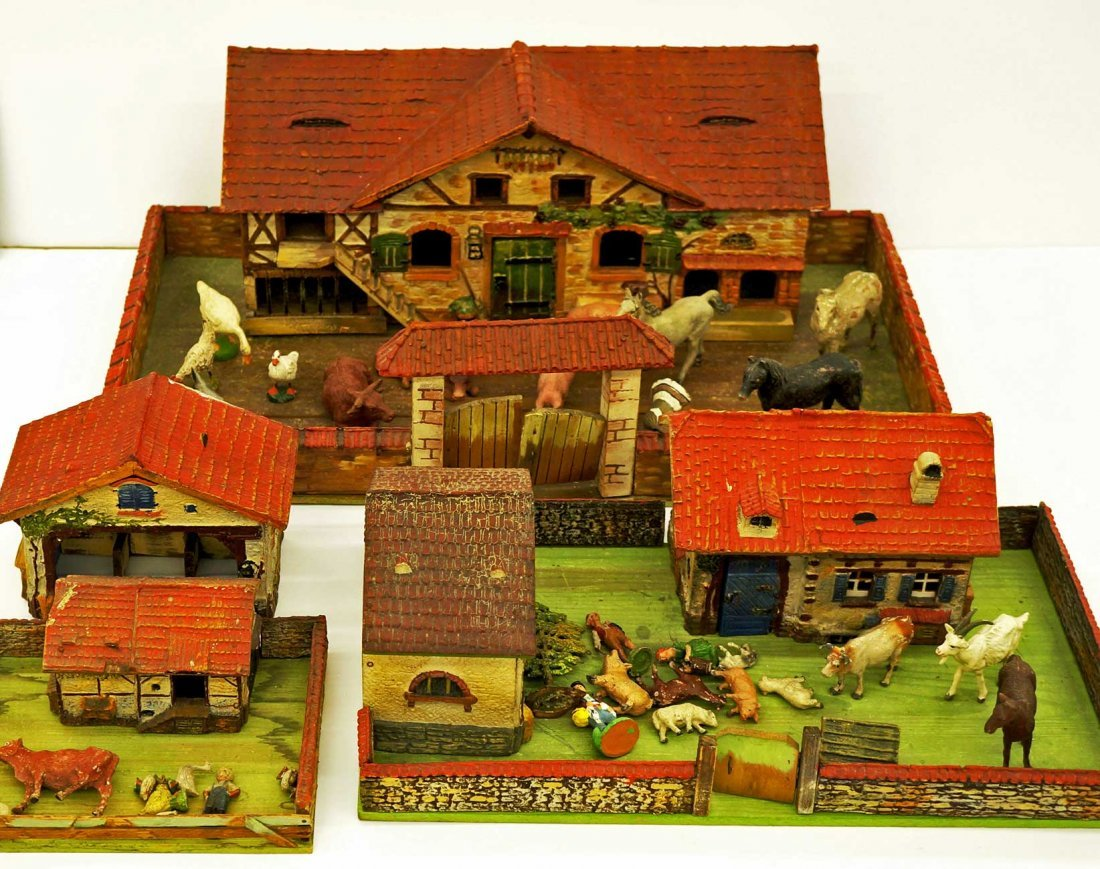 Group of Elastolin Farmyard Sets with Houses & Figures