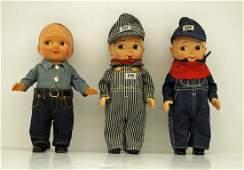 Three Vintage Buddy Lee Composition Advertising Dolls