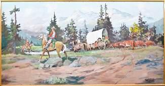 Fred Oldfield (b.1918 Washington) Untitled Wagon Train
