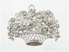 Ladys Basket of Flowers Platinum  Diamond Brooch