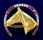 Fine Diamond & Ruby Gold Horseshoe Brooch 1.25''x1.5''.