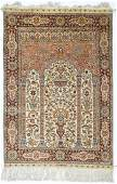 A Fine Persian Silk Oriental Prayer Rug 3x44
