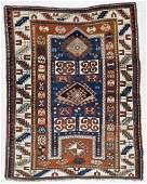 Semi Antique Caucasian Kazak Prayer Rug 4'x5'. Some