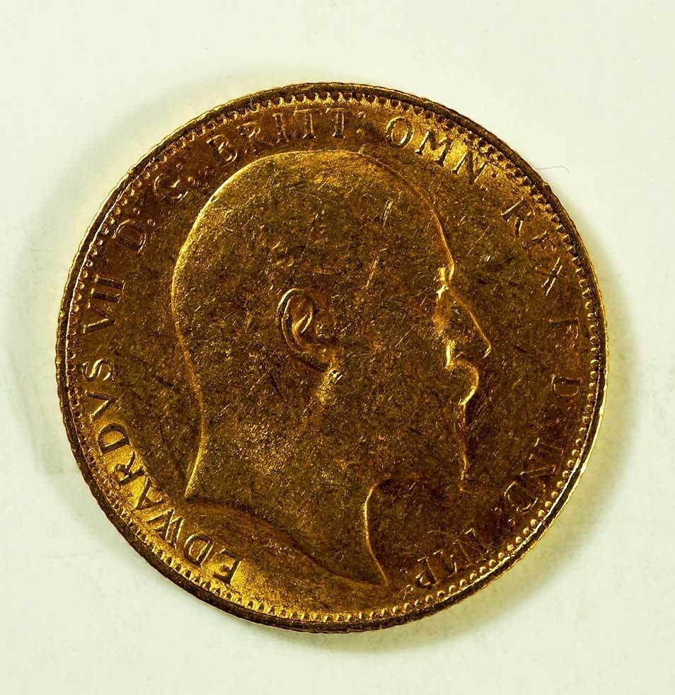 Gold 1906-M Australia Edward VII Sovereign, 8gr, 22mm