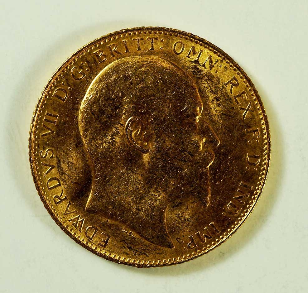 Gold 1907 Great Britain Edward VII Sovereign, 8gr, 22mm