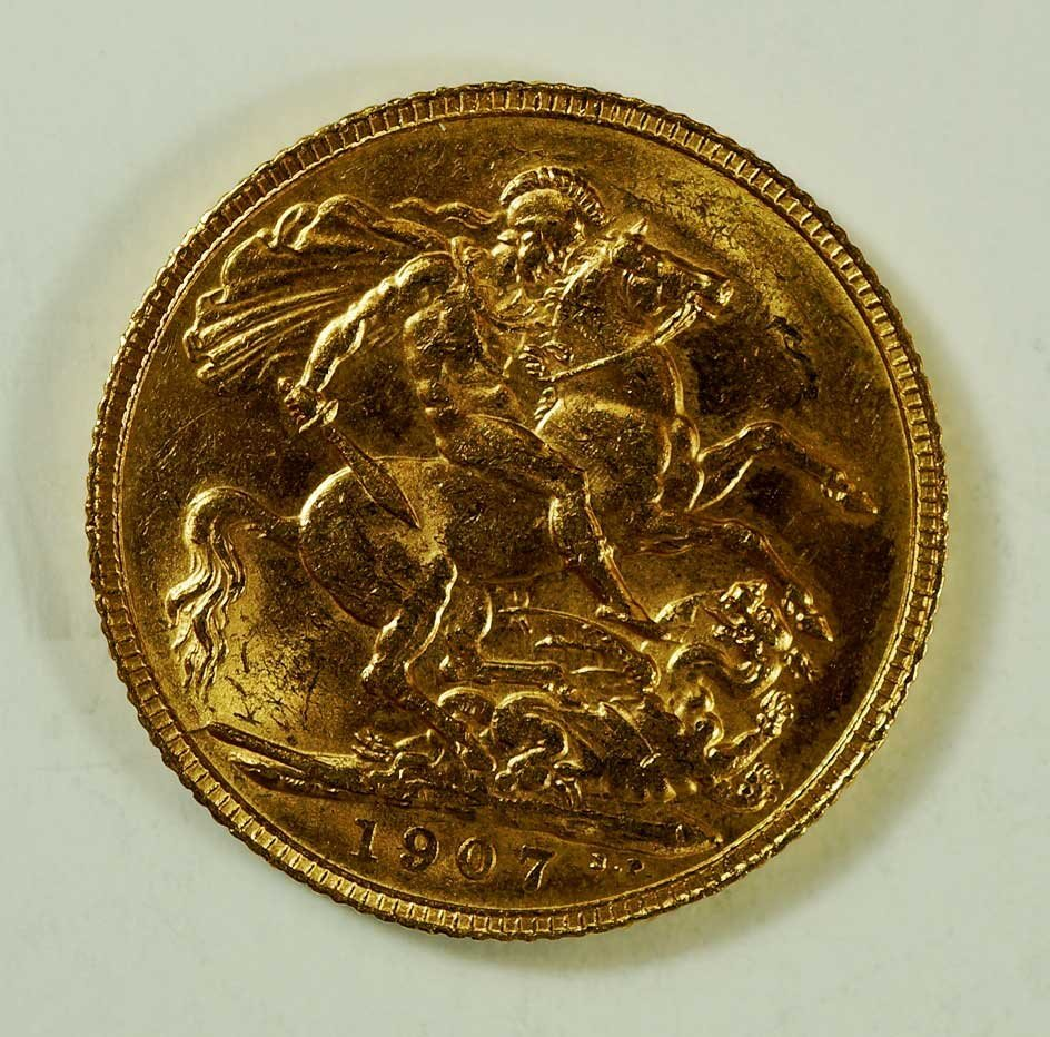 Gold 1907 Great Britain Edward VII Sovereign, 8gr, 22mm - 2