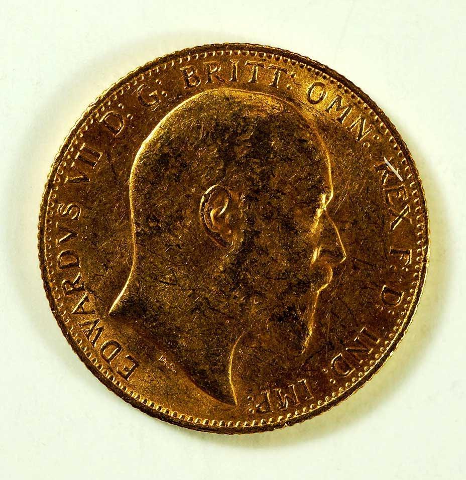 Gold 1909-S Australia Edward VII Sovereign, 8gr, 22mm
