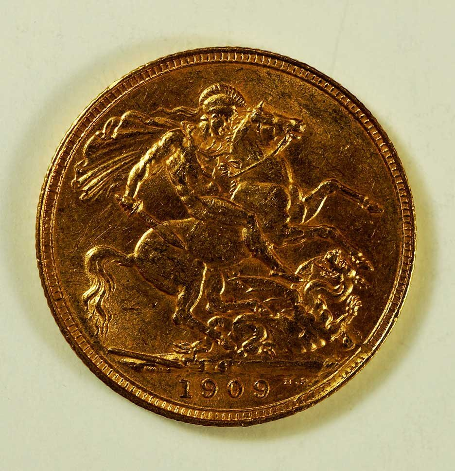 Gold 1909-S Australia Edward VII Sovereign, 8gr, 22mm - 2
