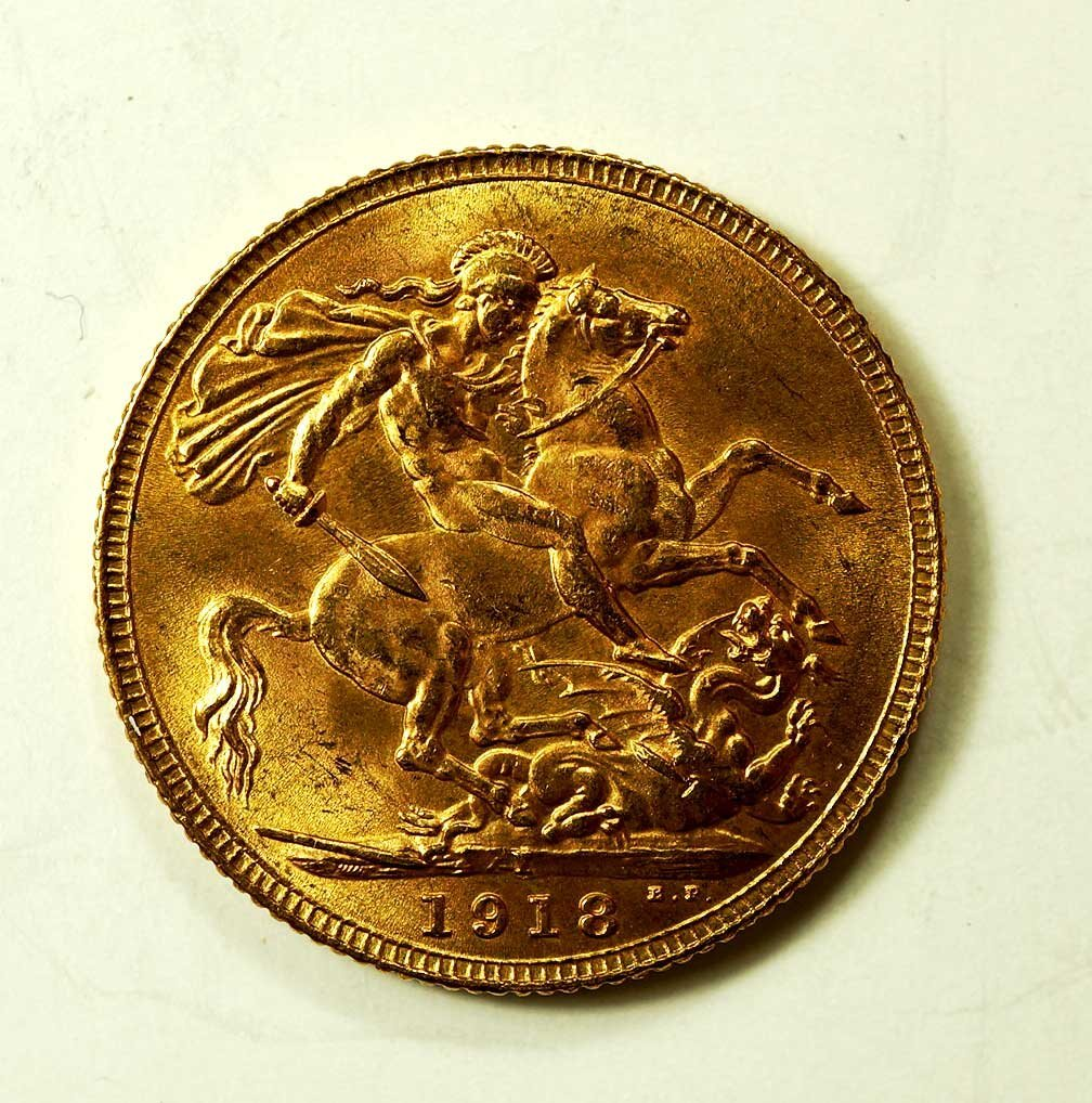 Gold 1918-I India George V Sovereign, 8gr, 22mm - 2