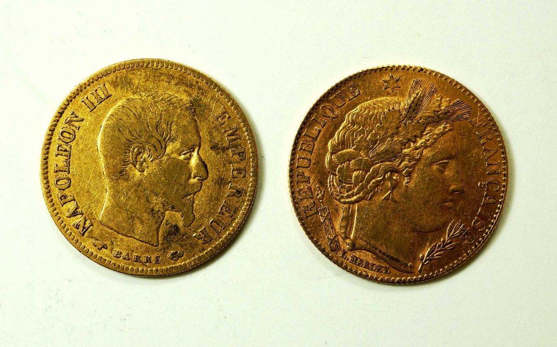 Gold (2) 1856 & 1896 France 10 Francs Coins, 6.3gr