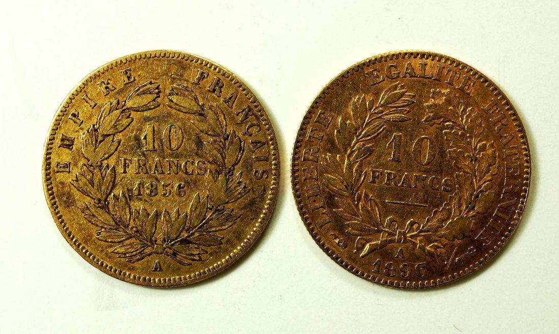 Gold (2) 1856 & 1896 France 10 Francs Coins, 6.3gr - 2