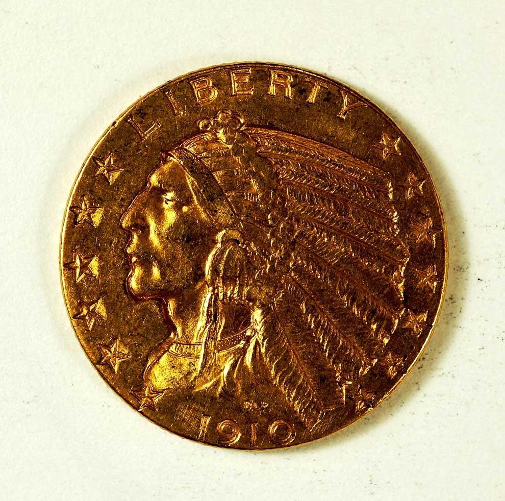 Gold 1910 Indian Head $5 Half Eagle Gold Coin, 8.2gr