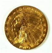Gold 1910 US Indian Head 250 Quarter Eagle Gold Coin