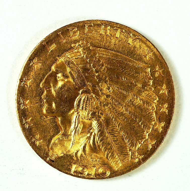 Gold 1910 US Indian Head $2.50 Quarter Eagle Gold Coin,