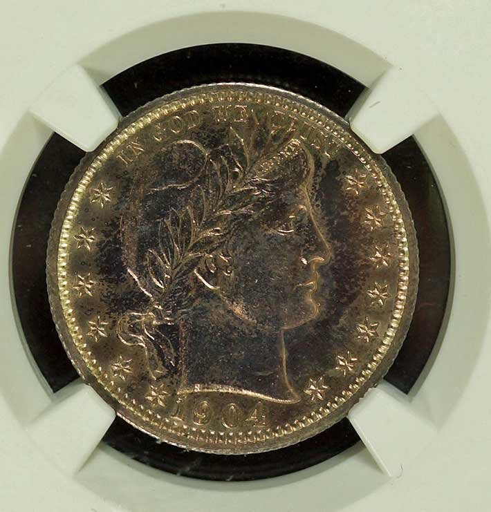 Silver US 1904 Proof Barber Quarter, 25 Cent, NGC PF63
