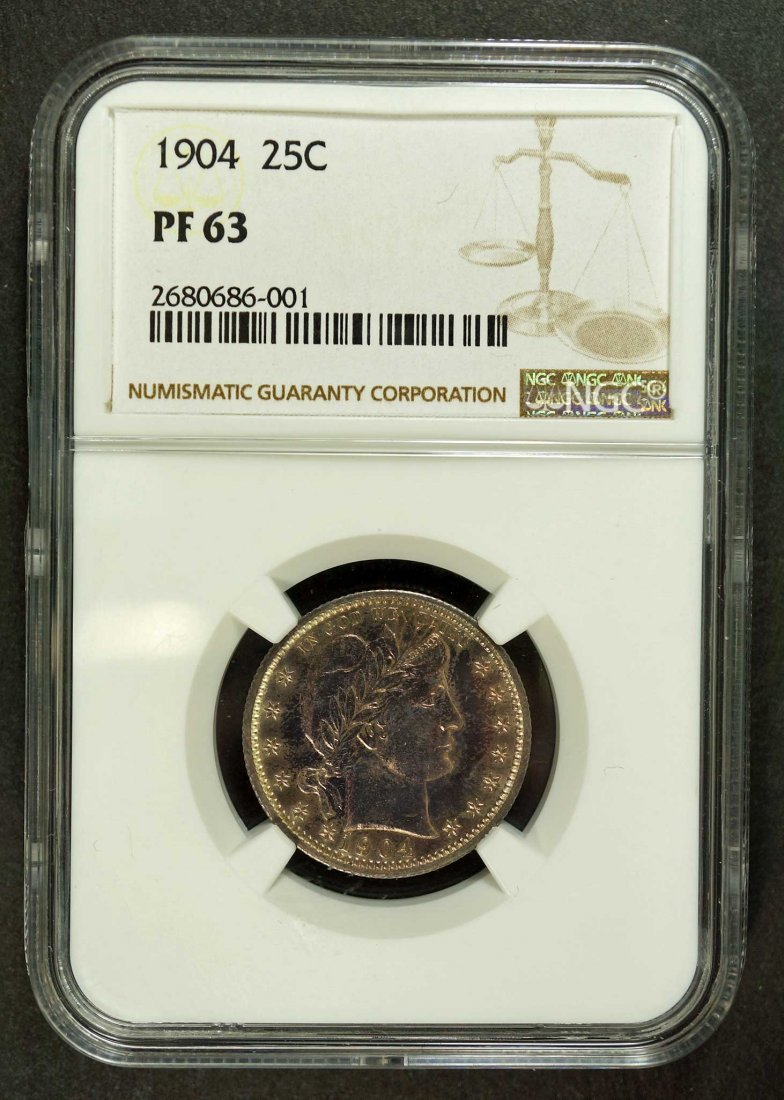 Silver US 1904 Proof Barber Quarter, 25 Cent, NGC PF63 - 2