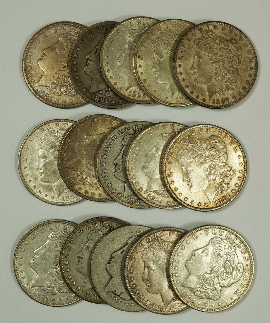 Group of (15) Morgan US Silver Dollars, Assorted Dated