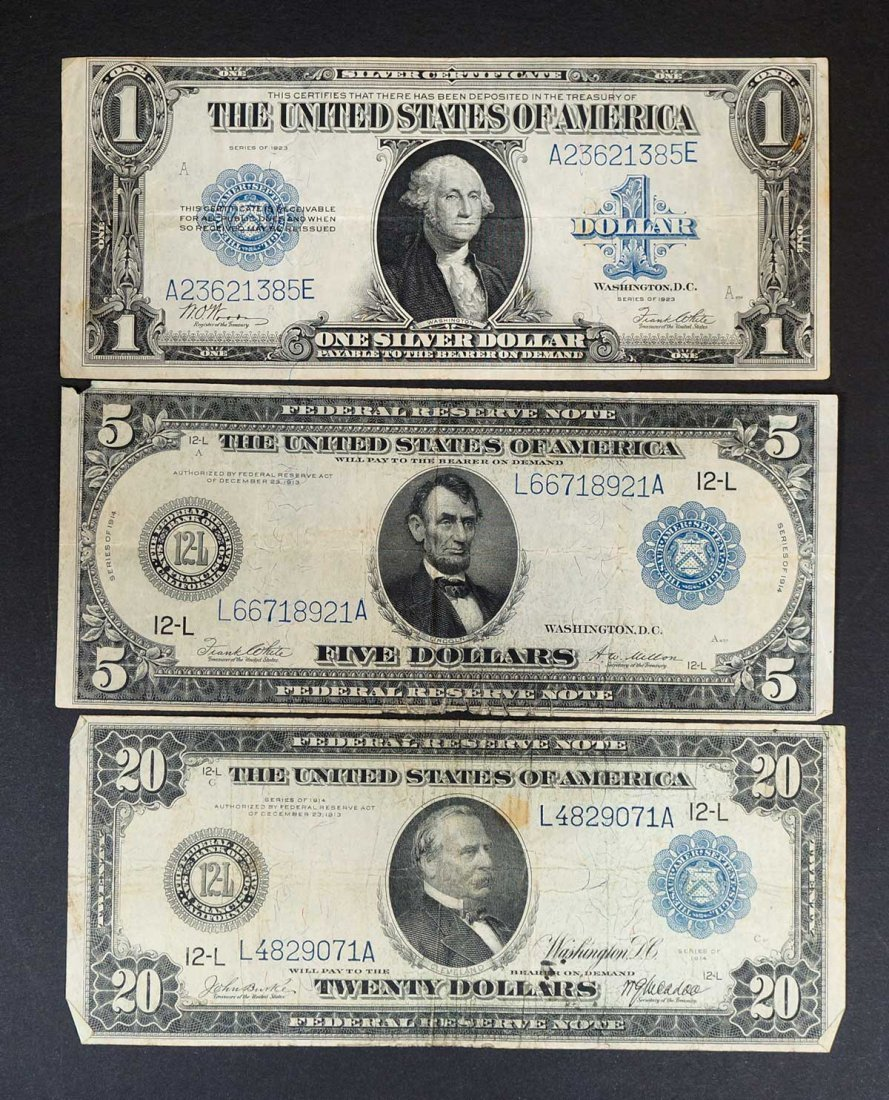 (3) Large US Currency Bills, $1 1923, $5 1913 & $20