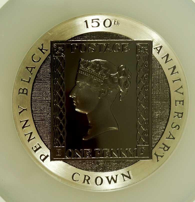 Isle of Man 1990 5 Ounce Silver Penny Black NGC Gem