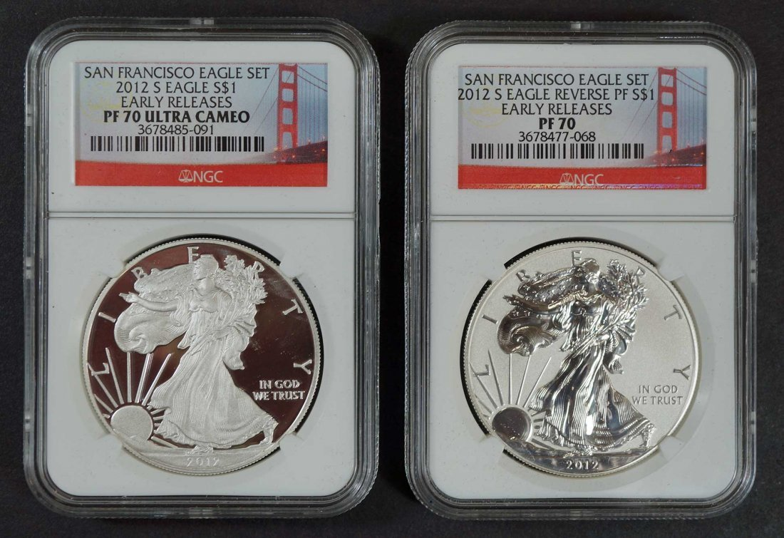 San Francisco Eagle Set, 2012-S Eagle $1, (2) Early