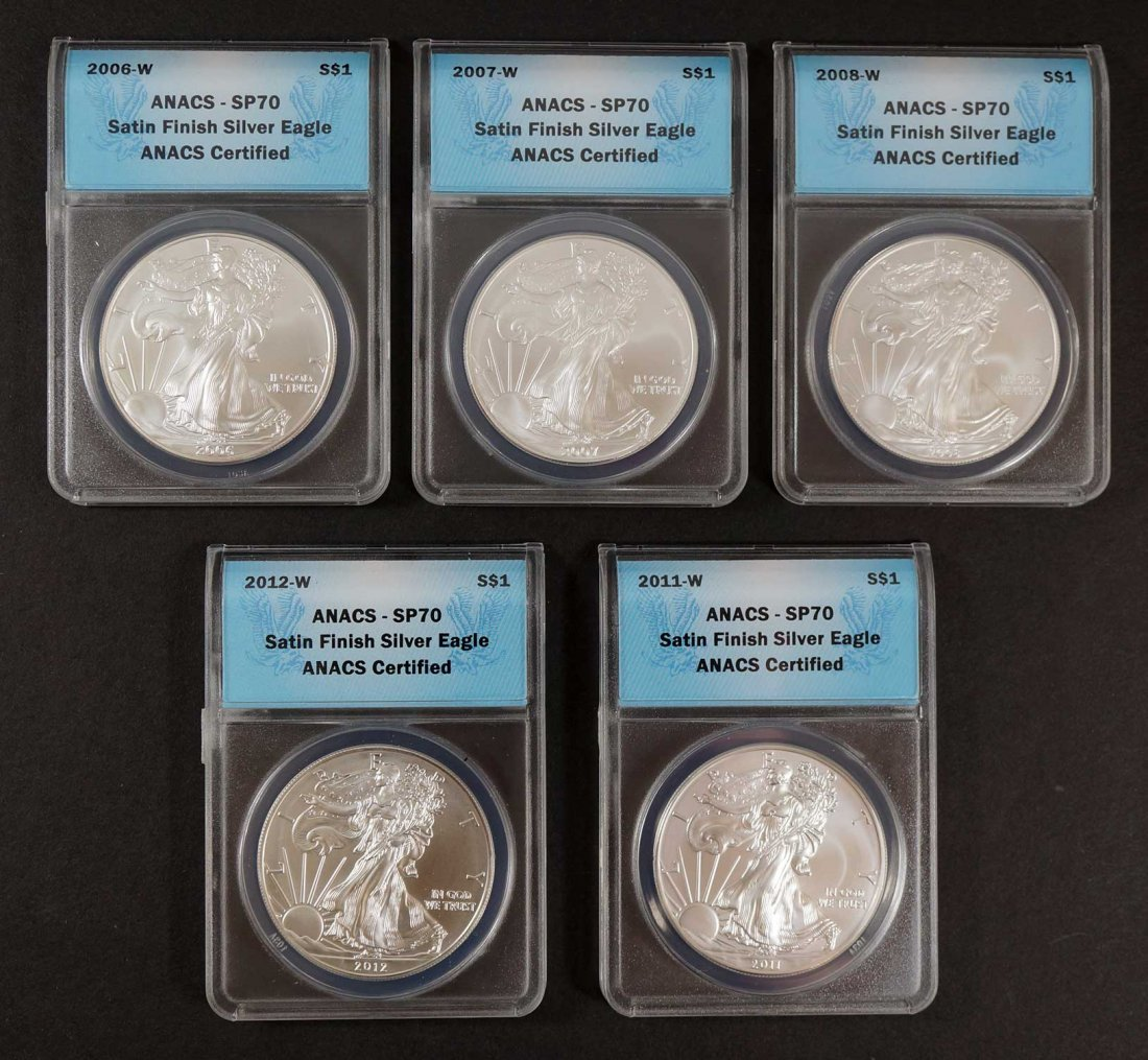 Group of (5) 2006-2012-W Burnished Silver Eagles, ANACS