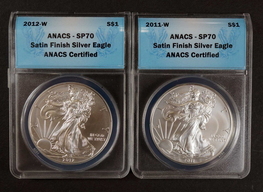 Group of (5) 2006-2012-W Burnished Silver Eagles, ANACS - 2