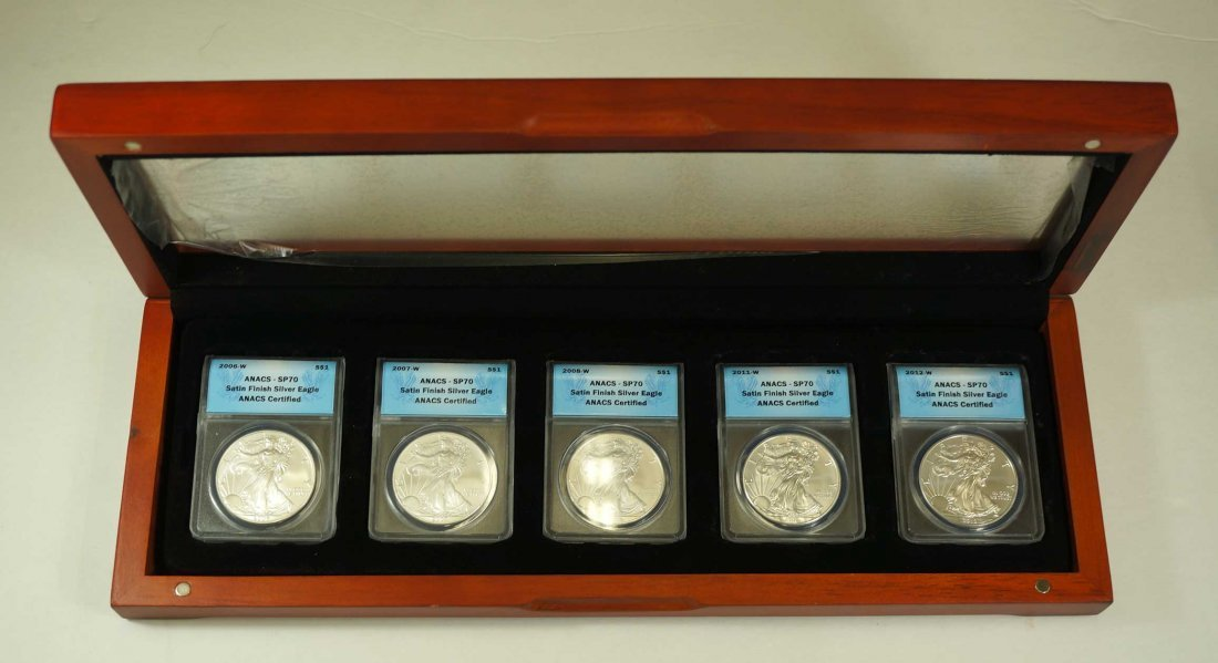Group of (5) 2006-2012-W Burnished Silver Eagles, ANACS - 4