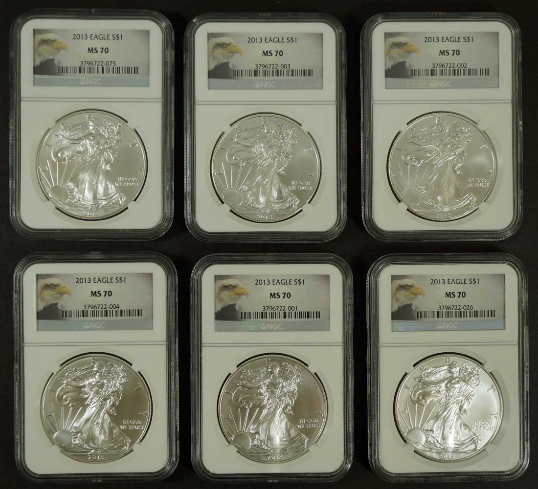 Group of (6) Silver Eagles NGC MS70