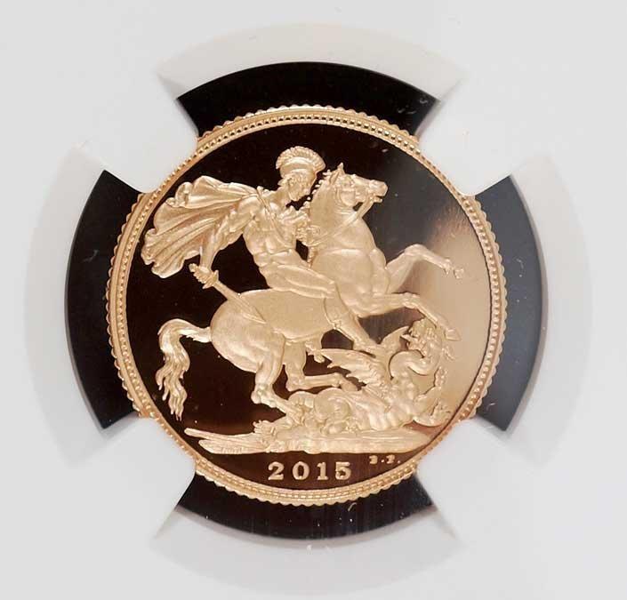 Gold Great Britain 2015 Sovereign, 2015 Portrait PF70