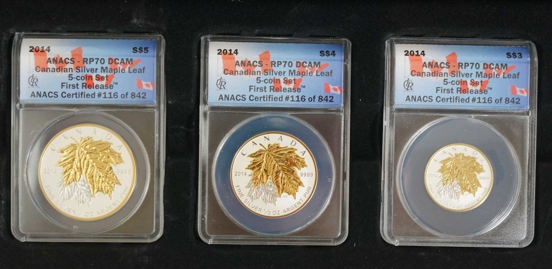 Canada 2014 Silver Maple Leaf 5 Coin Set, First - 3