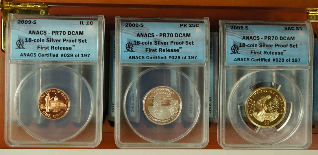 2009-S ANACS Silver Proof Set, 18 Coin Set, First - 2