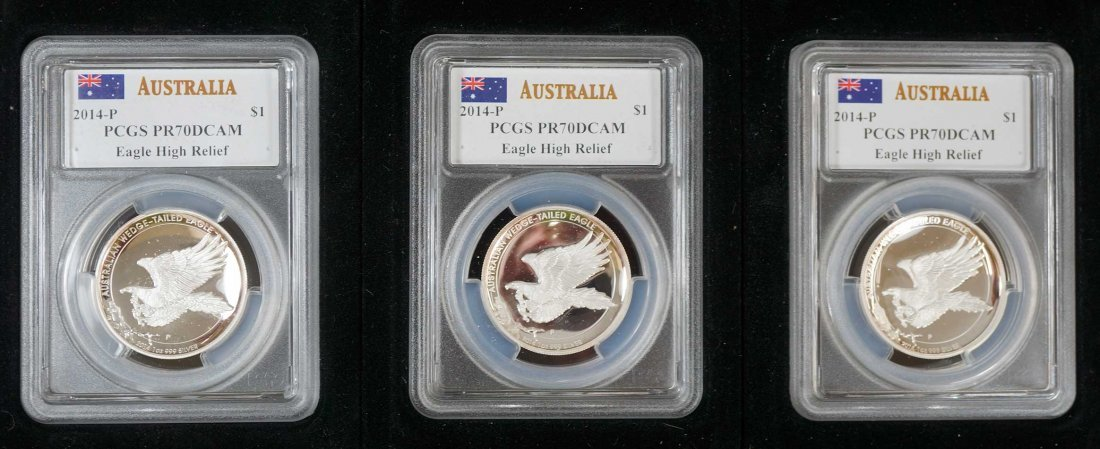 Australia (3) Wedge Tailed Eagle Silver Proof Coins, - 2