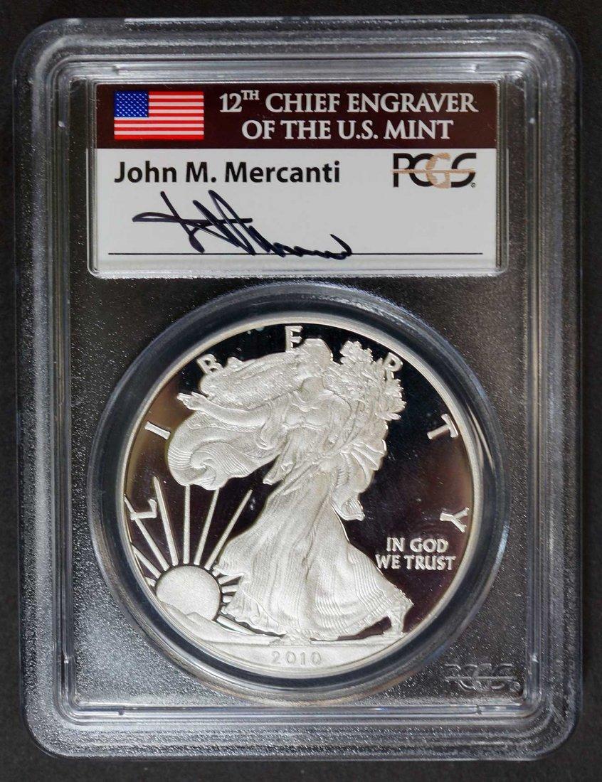 2010-W $1 Silver Eagle PCGS PR70 DCAM, Signed by Jhn M