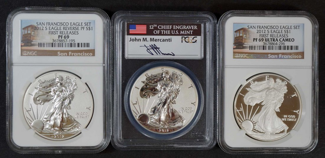 (3) 2012-S $1 Silver Eagle Coins, PF69 Ultra Cameo &