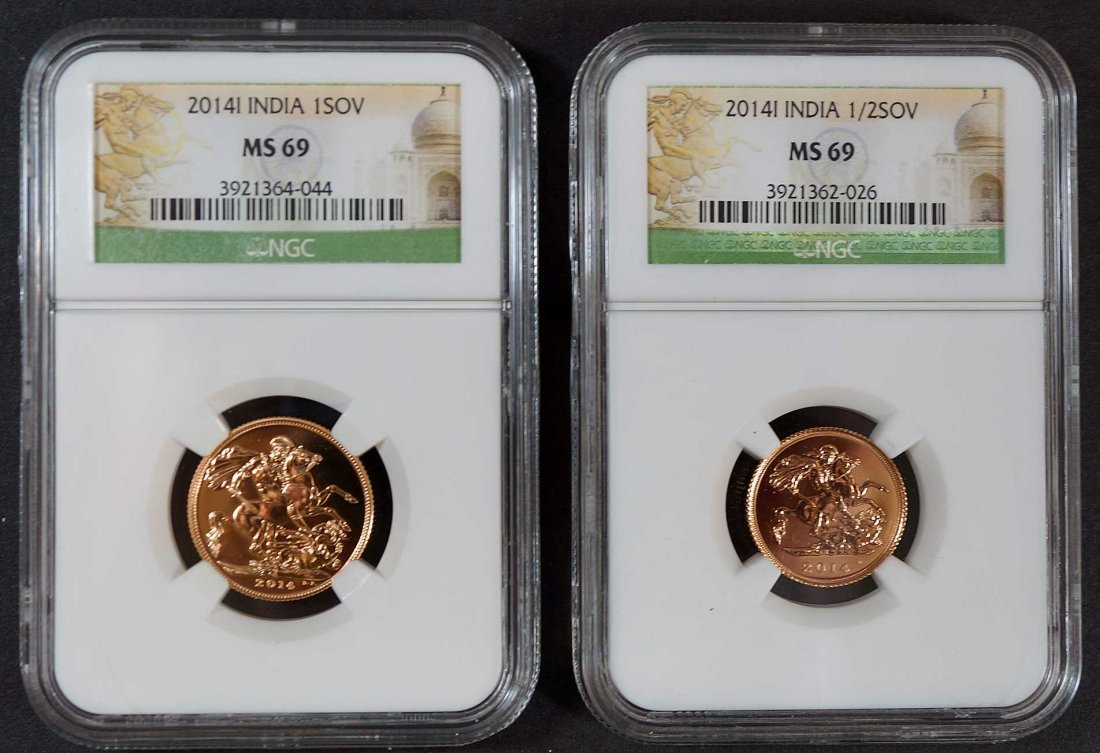 Gold India (2) 2014 1 Sovereign NGC SM69 & 1/2 - 2