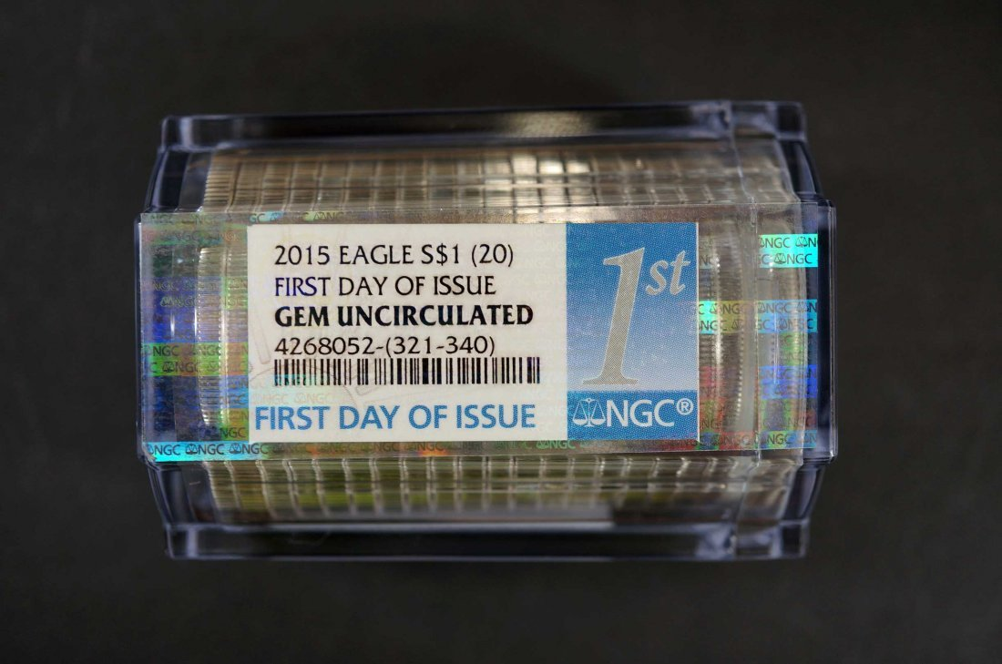 2015 Sealed Roll of (20) Silver Eagles $1, First Day of - 2