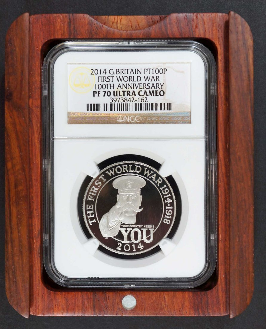 Platinum Great Britain 2014 100 pounds, 1 ounce Coin, - 3