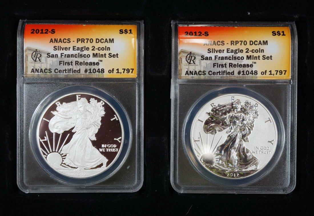 2012-S Silver Eagle 2 Coin Set, San Francisco Mint Set,