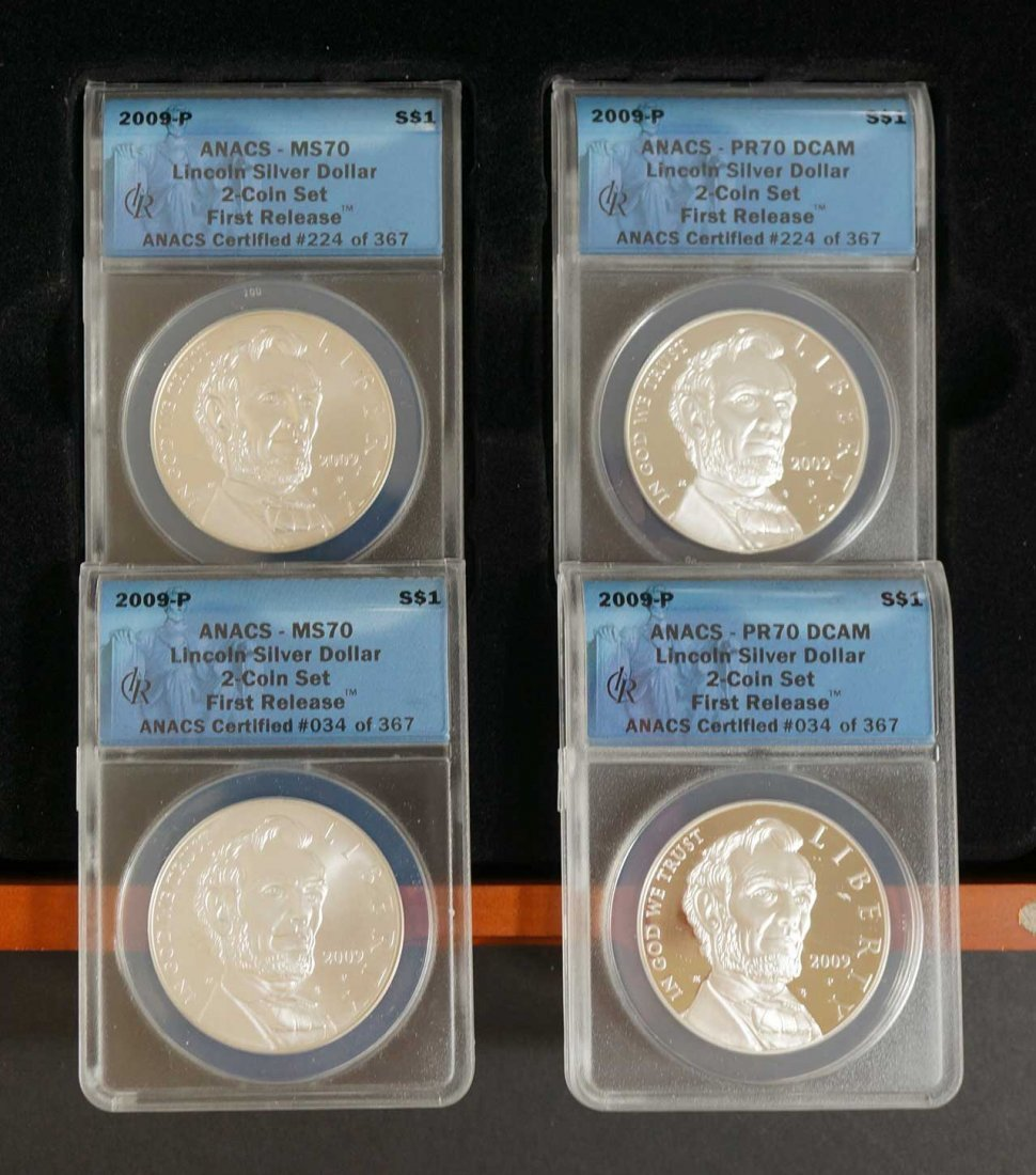 (2) 2009-P Lincoln silver dollar Sets, ANACS 2 Coin