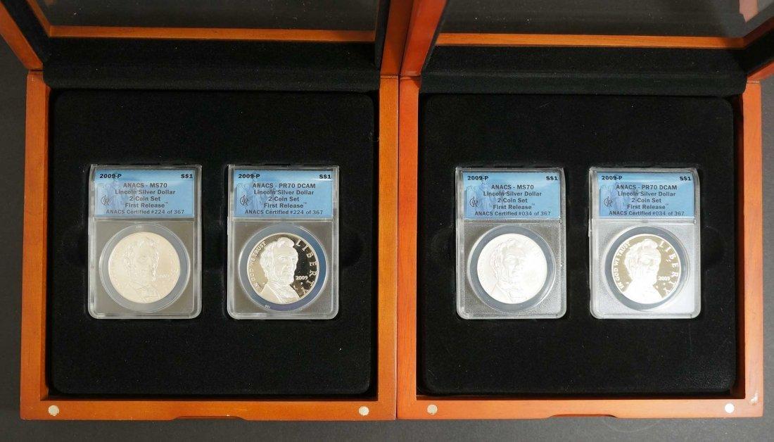 (2) 2009-P Lincoln silver dollar Sets, ANACS 2 Coin - 2