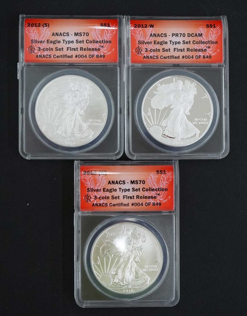 2012 Silver Eagle Type Set Collection, 3 coin set,